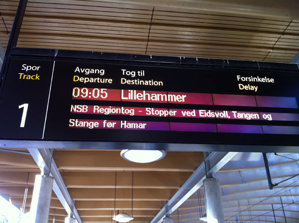 Train to Lillehammer at 09.05