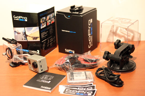 The unboxing of the GoPro HD HERO2 is completed - sweet!