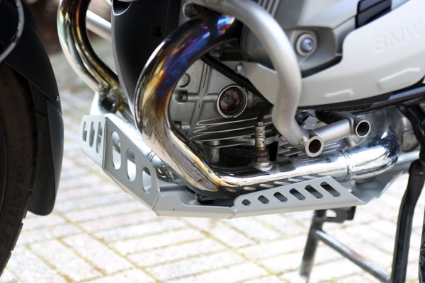 The new BMW Motorrad Enduro Aluminum Bash Plate installed