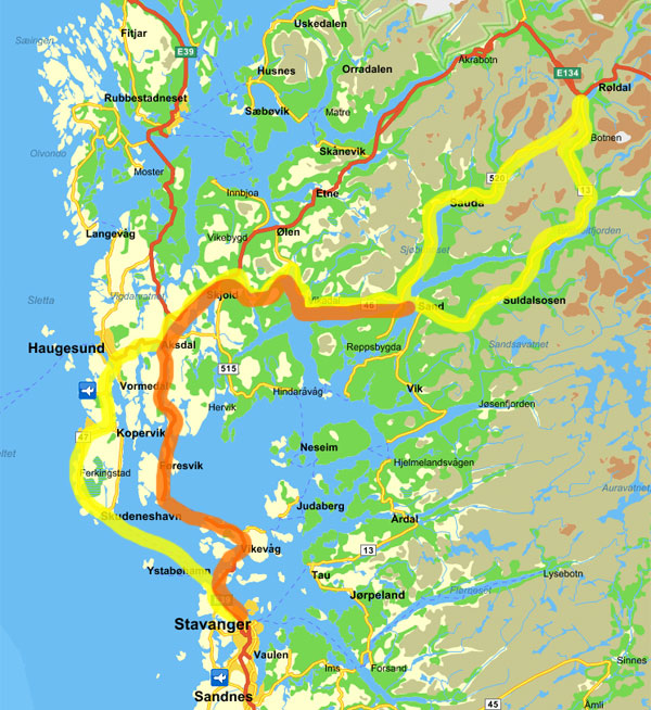 Map of my ride. Yellow markes the departure, orange markes the return trip.